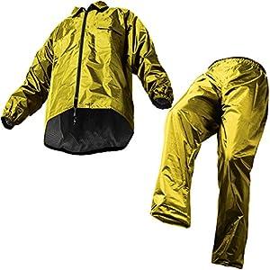 レインスーツ 上下 メンズ (耐水圧:10000mmH2O) (裾上げ調節機能) (フード調節機能) (止水テープ加工) (裏地メッシュ仕様) EL ダークイエロー AS5100