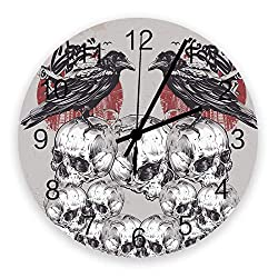 Our Wings Vintage Hanging Wall Clock 12 Inch Halloween Skull Crow, Creative Round Silent Movement Battery Operated Quality Quartz Wall Art Clock for Kitchen/Bedroom