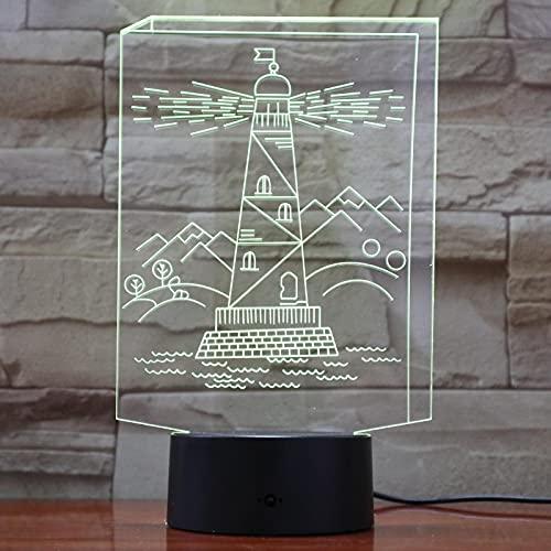 Luces Led 3D Forma De Torre De Construcción 7 Colores Que Cambian La Luz Nocturna Del Bebé Decoración Interior Toque De Iluminación Usb 1pc