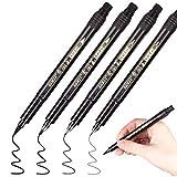 4PCS Calligrafia Pennarelli, Rymall Brush Pen Pennarello Nero a Punta Doppia per Lettering...