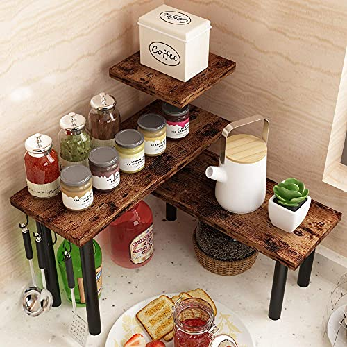 Homode [Newly Upgraded] Corner Shelf, 3 Tier Kitchen Counter Organizer, Storage Rack Shelves for Bathroom, Living Room, Wood and Metal Accent, Rustic Brown