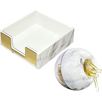 Marble Office Supplies Set-Magnetic Paper Clip Dispenser (with 100pcs Gold Paper Clips)+Memo Sticky Notes Holder, Marble Gold Desk Organizer Desktop Accessories Organization