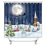 GiWuh - Cortina de ducha navideña con ganchos para decoración de baño, 177,8 cm de largo