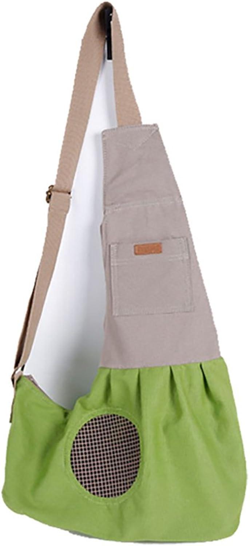 Doglemi Nature Canvas Single Shoulder Dog Cat Carrier Pet Sling Bag (Green, M)