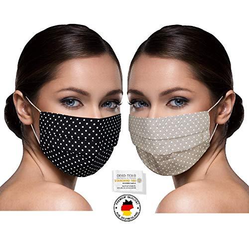SET 2 STÜCK Unisex Stoffmasken Mundschutz Maske Stoff 100% Baumwolle Mund Nasen Schutzmaske mit Motiv Mund und Nasenschutz Maske waschbar SCHWARZ u. BEIGE gepunktet