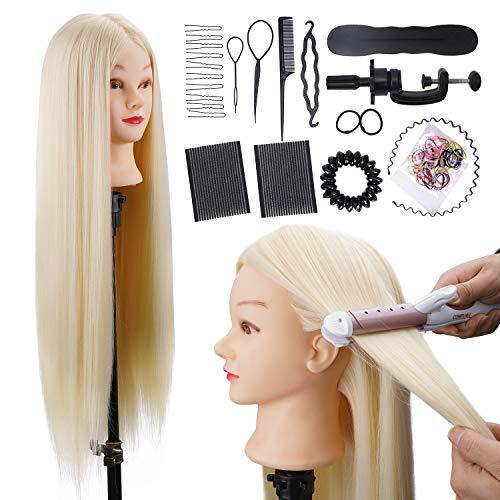 Tête À Coiffer ALUOHA 80cm Professionnelle Têtes d'exercice 100% de Cheveux Synthétiques Coiffure Cosmétologie Pratique Mannequin Poupée avec Support+Ensemble de Tresse