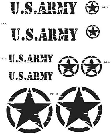 Us Army Retro Set Aufkleber In Zwei Verschiedenen Größen Schriftzug Und Star Set Aufkleber M Und Xl 283 16 2 Schwarz Matt Xl Auto