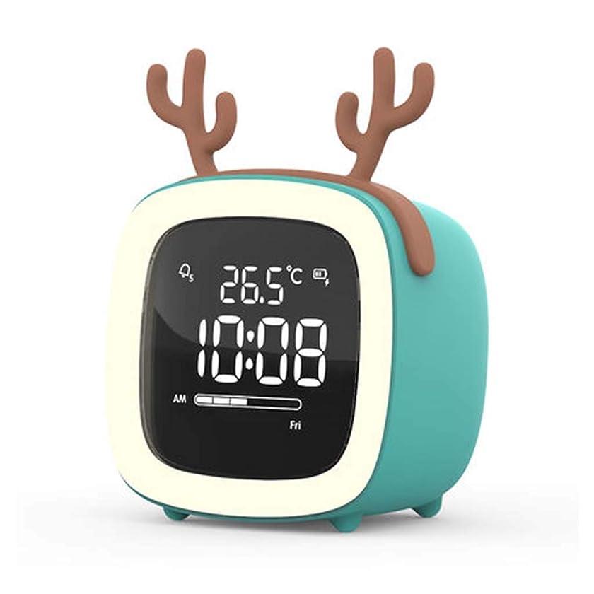 建設次手書きポート調光可能なアラーム時計大量ベッドデスク目覚まし時計を充電USBでアントラー大型デジタル目覚まし時計 (色 : 青, サイズ : 7.9cm)