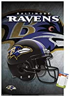 "Trends International NFL Baltimore Ravens - Helmet 16 Wall Poster, 22.375"" x 34"", Poster & Mount Bundle"