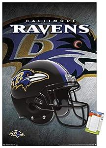 "Trends International Poster Mount NFL Baltimore Ravens - Helmet, 22.375"" x 34"", Premium Poster & Mount Bundle"
