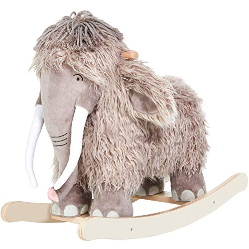labebe - Plush Rocking Horse, Mammoth Rocker, Stuffed Rocker Toy for Child 1-3 Year Old, Kid Ride On Toy Wooden, Rocking Animal for Infant/Toddler Girl&Boy, Nursery Birthday Gift