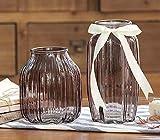 LINDU Farbvase, Vintage, transparente Glasvase, Blumengesteck, Zwei Sätze Fütterungsbänder - braun - 2-teiliges Set