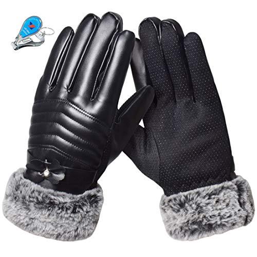 KXF Damen-Reithandschuhe, PU-Leder, Touchscreen, Thermo-Handschuhe, warm, für den Winter, winddicht, kältebeständig, mit Fleece gefüttert