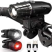 Luz Bicicleta USB Recargable, LED Luces Bicicleta Delantera y Trasera, IPX5 Resistente con 4 Modes, Super Brillante...