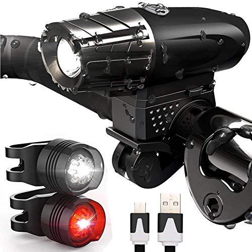 Luz Bicicleta USB Recargable, LED Luces Bicicleta Delantera y Trasera, IPX5 Resistente con 4 Modes, Super…