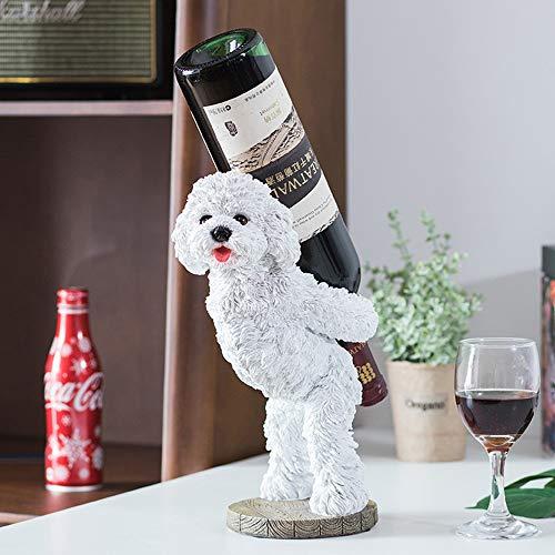 ZHQHYQHHX Decoración para el hogar Poner el Estante del Vino Home Living Room decoración for el hogar Adornos Vino Lindo Perro Estante de la Barra 28 * 18cm Adornos (Color : Blanco)