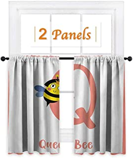 shenglv Bee Customized Curtains Cute Queen Bee Holding Scepter Children ABC Learning Funny Cartoon Animal Education Window Curtain Drape W55 x L45 Multicolor