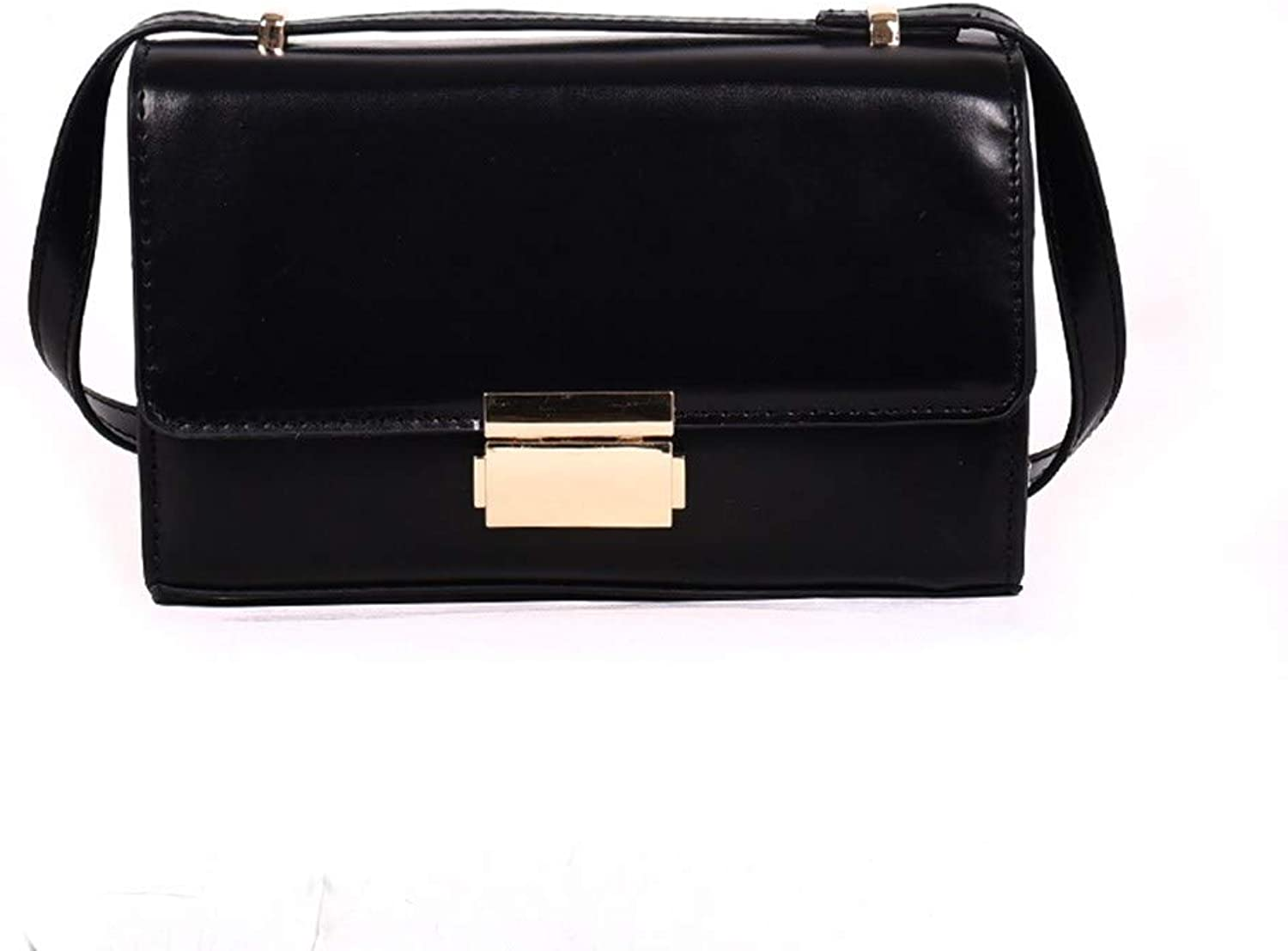 H-M-STUDIO New Autumn and Winter Wild Solid color Retro Messenger Bag Black 21  14  7Cm