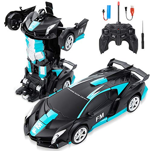 BEIWO Remote Control Car, Transform Robot RC Car for Kids, One-Key Deformation Car, 1:18 Scale Racing Car with 360°Drifting, Transforming Robot Car Toys Gift for Boys Girls RC Cars (Frosted Blue)