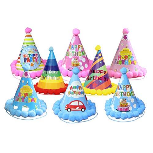 Amosfun 20 STÜCKE Alles Gute zum Geburtstag Hut Party Pompoms hüte Papier Kegel Festival Geburtstag Party für Kinder Erwachsene