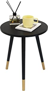 AWASEN Round Side Table, Round White Modern Home Decor Coffee Tea End Table for Living Room, Bedroom and Balcony, Easy Assembly (15.8x20inches, Black&Gold)