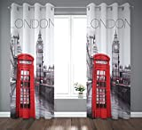tex family Cortina Londres Inglés Telephone 140 x 280 cm confeccionada