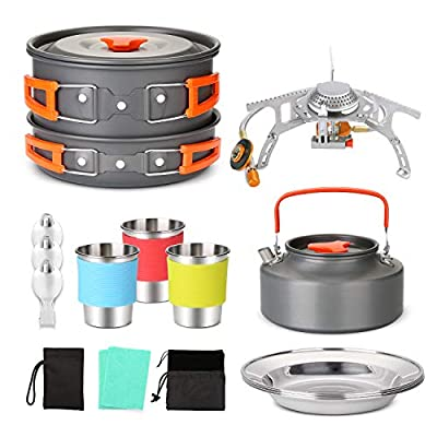 Odoland 17pcs Camping Cookware Mess Kit Backpacking with Camp Stove, Camping Pot Pan Kettle with Camp Utensil for 3, Cups Dishes Sporks Kit for Outdoor Camping Hiking and Picnic