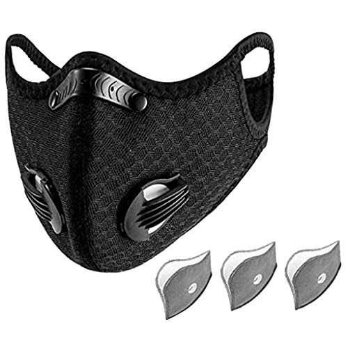 Black Face Covering with Filters for Adults,Activated Carbon Reusable Respirator for Running Cycling