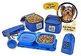 Overland Chiens Gear Chien Set de voyage nourriture pour chiens de petites taille (bleu) 7pk y compris pliable bols, transporteurs, Scooper, napperon, sac