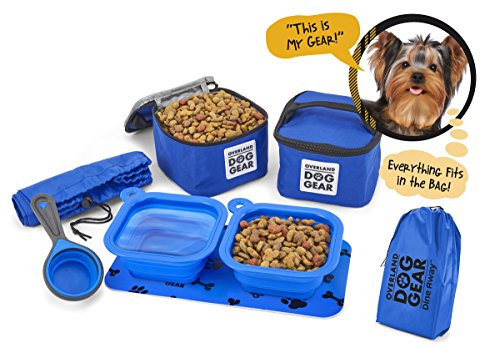Overland Dog Gear Dog Travel Food Set For Small Dogs (Blue) - 7pk Including Collapsible Bowls, Carriers, Scooper, Place Mat, Bag
