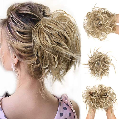 FORCUTEU Messy Bun Hair Piece Tousled Updo Hair Piece Scrunchies Synthetic Wavy Bun Extensions Rubber Band Elastic Scrunchie Chignon Instant Ponytail for Women
