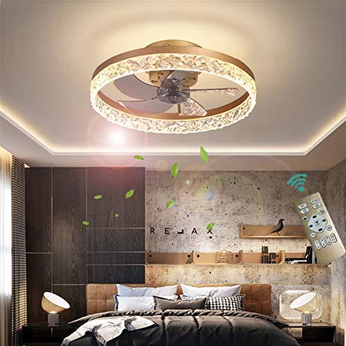 XSHBHD Deckenventilator Mit Beleuchtung, Fernbedienung,Einstellbar Windgeschwindigkeit LED Dimmbar 30W Decke Lampe Leise Ventilator Kronleuchter,Für Esszimmer Wohnzimmer Schlafzimmer (Farbe : Gold)