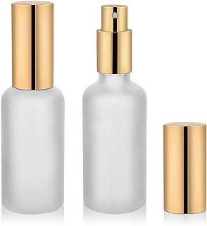 2oz Glass Spray Bottle, Empty Frosted Perfume Atomizer, Fine Mist Spray,Gold Sprayer (2 PACK)