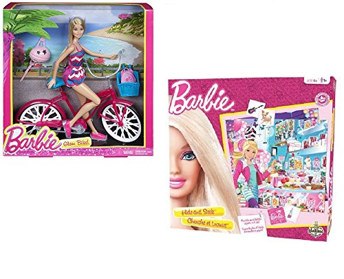 Barbie Glam Doll, Bike and Memory Game Gift Set