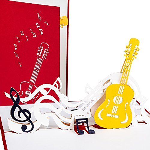 3D Grußkarte Gitarre mit Notenschlüssel Pop up, Grußkarte Musik, Geburtstagskarte als Konzert-Gutschein, Festival-Gutschein, Musical-Gutschein, Theater-Gutschein, Gitarrenunterricht-Gutschein