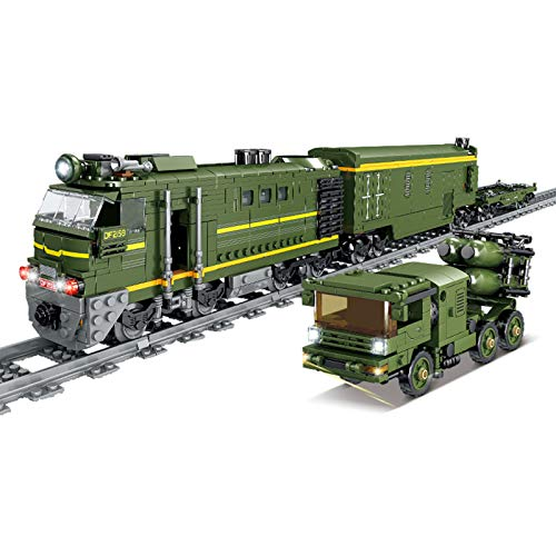 SICI Tren de mercancías para ciudad con riel, tren de tren de tren tren con motor y kit de iluminación, 1174 piezas, compatible con la técnica Lego