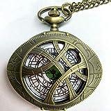 NOBRAND Reloj de bolsillo, diseño clásico con forma de ojo de cuarzo, reloj de bolsillo Longan Lobo collar con cadena colgante de regalo para hombres y mujeres, color Bronce-1