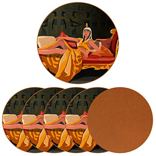Juego de 6 posavasos redondos de cuero para bebida, taza de café para mesa de madera, Cleopatra sentada en su trono regalo de cumpleaños