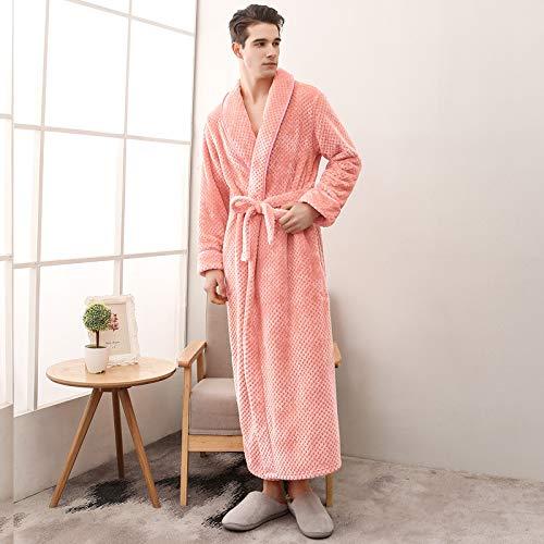 WTBI Pijamas de Pareja de Cachemira Beibei con Cintura Mejorada clásica para Hombres y Mujeres Pijamas de Albornoz Gruesos de Talla Grande Pijamas Largos Blancos 1506 Naranja Rosa Hombres, XL