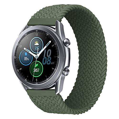 iBazal 20mm Correa Galaxy Watch 3 41mm Nylon Band Trenzada Lazo Individual Repuesto para Samsung Galaxy Watch Active2 Pulsera 40mm 44mm/Galaxy Watch 42mm, Active 40mm, Gear S2 Classic - Verde/S