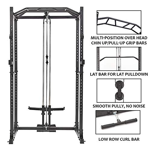 Power Cage with LAT Pulldown 1200-Pound Capacity High Capacity Power Rack Home Gym Equipment