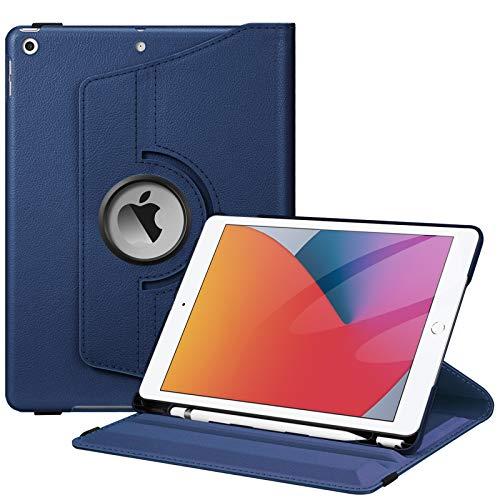 Fintie Hülle für iPad 10.2 Zoll 9.Generation / 8. Gen / 7. Gen (Modell 2021/2020/2019) mit Pencil Halter - 360 Grad Rotierend Stand Schutzhülle Cover mit Auto Schlaf/Wach Funktion, Marineblau
