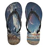 Linomo Alien Planet Moon Galaxy Space Slim Flip Flop Sandalias de playa de verano para mujer, color, talla 39/41 EU