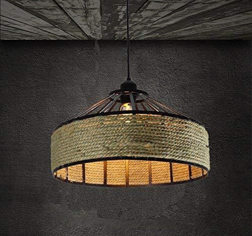 xy Guo Home Hotel decoratieve lamp, vintage kroonluchter creativiteit huis persoonlijkheid en kamer decor antieke industriële ventilator ijzer en sisal modern met een diameter van 40 cm LED Light