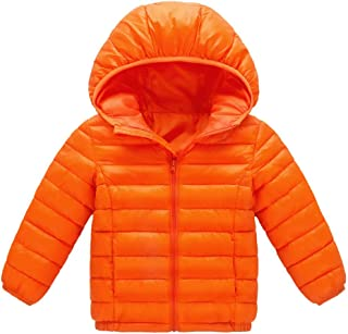 Baby Girl Boy Kids Light Down Jacket,Windproof Zipper Cable Hooded Coat Winter Warm Toddler Snowsuit(18M-8T)