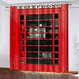 JNWVU Cortinas Opacas De Ojales 3D Cabina Telefónica De Londres Salon En Poliéster para Habitacion Dormitorio Cocina Decoración del Hogar Moderno Térmicas Aislantes Frío Y Calor. 200X180Cm