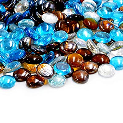 Skyflame 10-Pound Blended Fire Glass Beads for Fire Pit Fireplace Landscaping, 3/4-Inch High Luster Caribbean Blue, Crystal Ice, Caramel