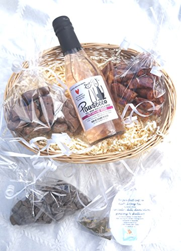 PAWSECCO LUXURY GIFT WRAPPED VALENTINE EASTER CHRISTMAS BIRTHDAY DOG HAMPER WITH HEART TAG, ROSE DOG WINE, DOG TEA & TREATS