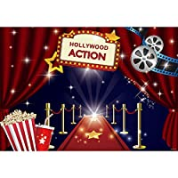 Allenjoy ハリウッド映画テーマパーティー背景 レッドカーペット セレブリティ ガールズ スイート16 ハッピーバースデー デコレーションバナー 7x5フィート 背景 ドレスアップと賞状 夜のセレモニーフォトブース小道具
