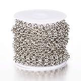 Beadthoven Chaîne à maille jaseron ronde de 4 mm de diamètre en laiton plaqué platine avec bobine pour bracelets, bracelets de cheville, ras du cou
